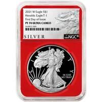 2021-W Proof $1 American Silver Eagle NGC PF70UC FDI ALS Label Red Core