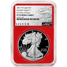 Preventa-prueba de 2021-W $1 American Silver Eagle NGC PF70UC FDI als Etiqueta Roja Cor