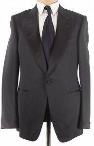 Tom Ford NWT Dinner Jacket Size 44L Solid Black Basketweave Silk Cotton Shelton