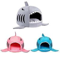 Cute Shark Mouth Teddy Pet Dog Cat House Bed Doggy Puppy Warm Kennel Cushion Pad
