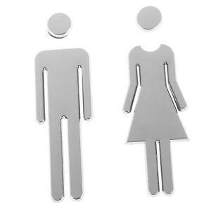 1 Set Toilet Door Sign Adhesive Plaque MEN and WOMEN Loo  Restroom Door St CSH