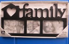 "FRAME, ""FAMILY"" Holds Three PHOTOS/ PICTURES Black Finish  NEW NIB"