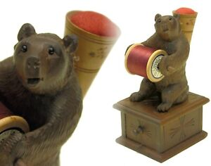 Vintage/Antique Black Forest Carved Wood Bear Sewing Spool Holder & Pin Cushion