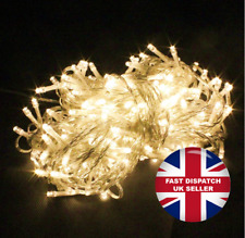 300 LED 32M Warm White String Fairy Lights On Clear Cable 8Light Modes Christmas
