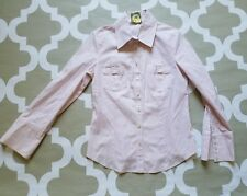 Elizabeth McKay Pinstripes Pockets Wide Cuff Roll up sleeves Shirt size 10, M