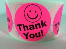 """1000 THANK YOU SMILEY 2"""" PINK NEON BEST PRICE THANK YOU LABELS 2"""" SHIPPING NEW"""