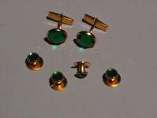 Cufflinks and Tuxedo Studs Gold Emerald Green New