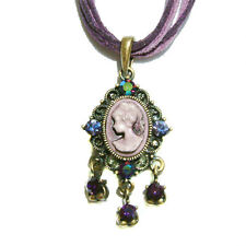 ~Purple CAMEO~ made with Swarovski Crystal Princess Queen Charm leather Necklace
