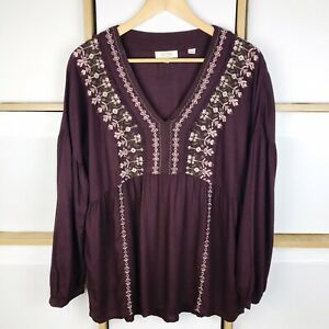 Fat Face Stephanie Embroidered Top in Purple Ganache 14 VGC