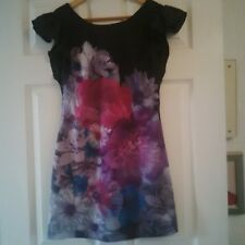 MISS SELFRIDGE LADIES BLACK MULTI SHORT DRESS /LONG TOP SIZE 8