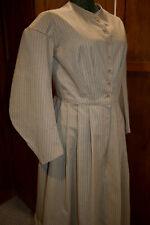 Civil War Victorian Cotton Day Dress Handmade Mini Vine Stripe 32W