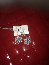 Sterling silver blue stone drop earrings fashionable young adults women NEW