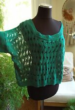 Emerald Green Sweater Top Cover Up Lace Crop Knit CHARLOTTE RUSSE Plus XL 1X 2X