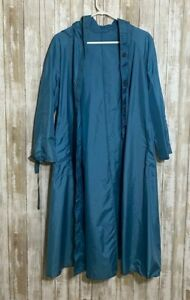Totes Packable Rain Coat LIGHTWEIGHT Button Down Long Hood Blue Trench Size 12