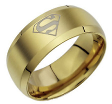 Men's Stainless Steel Band Ring Superman Logo Gold Size 8