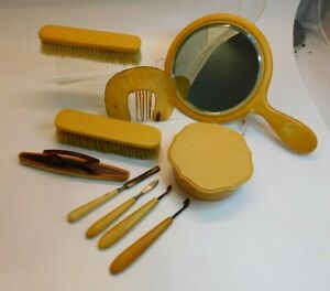 Grandma's Collection of Bakelite Vanity Sets, Celluloid comb. Over 10 pieces