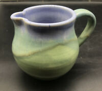 Signed Blue & Green Art Pottery Drip Glaze Pottery Creamer Ceramic Pitcher