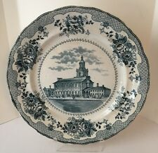 "Antique Buffalo Pottery 10"" Plate Independence Hall Teal Blue 1903-1910"