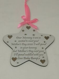 Mother's Day Gift, Keepsake From The Bump, Hanging Star with Ribbon &Bow (Large)