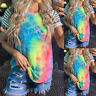 Women's Tie Dye Striped Short Sleeve Tops T-Shirt Casual Loose Round Neck Blouse