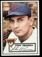 John Pramesa of the Chicago Cubs on a 1952 Topps card #105 in EX/MT condition
