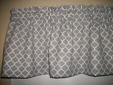 Dark Gray Ogee Lattice Quatrefoil fabric kitchen bathroom curtain Valance