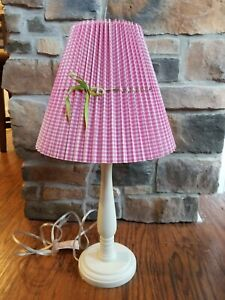 "Pottery Barn Kids Pink White Gingham Fabric 9"" Bell Lamp Shade Checkered Table"