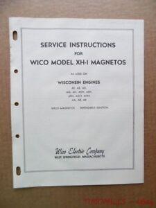 c.1948 WICO Series XH Magnetos Instruction Manual Parts Catalog Vintage Original