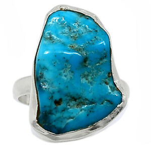Sleeping Beauty Turquoise Rough 925 Silver Ring Jewelry s.7 BR100389