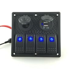 4 Gang USB Waterproof LED Automotive Toggle Switch Panel Car Marine Boat Rocker