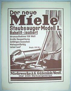 Werbeblatt Miele Staubsauger Modell L 1931 Gütersloh ! (D