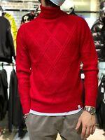 Maglione Collo Alto Uomo Maglioncino Rosso Rombi Pullover Invernale Casual