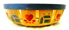 Round Fruit Basket Country Homes Collectible Decorative Heart Blue Red Shallow