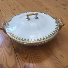 Theodore Haviland Limoges Platter and Covered Vegetable Dish Green/Gold pattern
