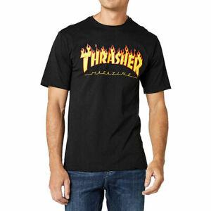 Thrasher Men's Flame Short Sleeve T Shirt Black Clothing Apparel Skateboarding