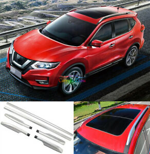 For Nissan Rogue X-Trail 2015-20 Aluminum Roof Rail Racks Side Decor Bar Carrier