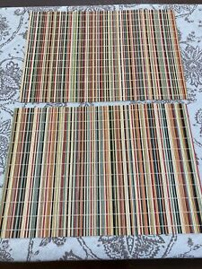 """Placemats (2) Bamboo Wicker Multicolor Boho Hippy Chic Rustic EUC Large 19x13"""""""