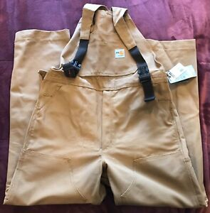 Carhartt Men's 36x34 NFPA FR Flame Resistant Duck Bib Overall Unlined Brown New