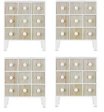 Fin Mini support libre armoire with 9 tiroirs en blanc et pin quatre Pack