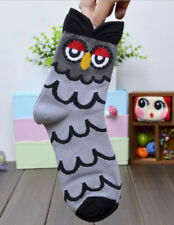 womens girls cartoon style animal Owl soft cotton quality comfy grey gift socks