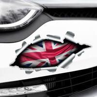 TORN RIPPED 3D EFFECT UNION JACK UK FLAG Novelty Car,Bumper Vinyl Decal Sticker