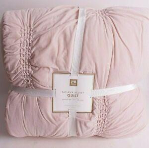 Pottery Barn PB Teen FQ Tatiana Velvet quilt full queen f/q powder blush pink