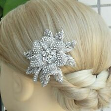 "Exquisite Bridal Headpiece 2.95"" Flower Hair Comb Clear Austrian Crystal 03608C1"