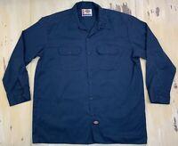 DICKIES - Navy Blue Long Sleeve Button-up Work Uniform Workwear Shirt, Mens XL