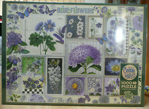 COBBLE HILL PUZZLE. BLUE FLOWERS. 1000 PIECES - BRAND NEW AND FACTORY SEALED