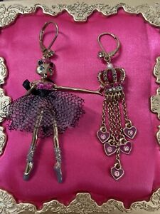 Betsey Johnson Imperial Princess Fox Ballerina Velvet Crystal Crown Earrings