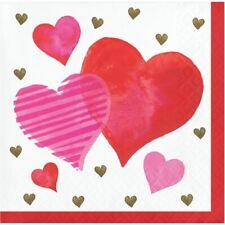 Textured Hearts Valentines Day 16 Ct Beverage Cocktail Napkins