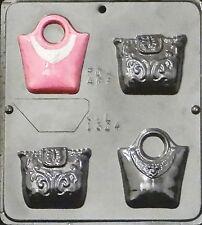 FREE SHIP NEW 4 Cavity PURSE HANDBAG Chocolate Candy Fondant Plaster Clay Mold