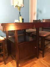 solid wood convertible square/rectangle dining room table w/ 4 suede chairs