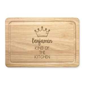 Personalised Name King Of The Kitchen Rectangular Wooden Chopping Board Custom